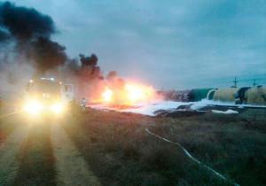 Тушение пожара оперативными подразделениями ЮРАСС и ОТЭКО-ЦАСФ при аварии подвижного состава с нефтепродуктами в Краснодарском крае