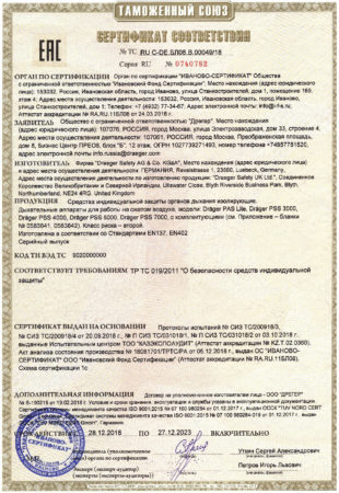 Сертификат соответствия дыхательные аппараты Драгер